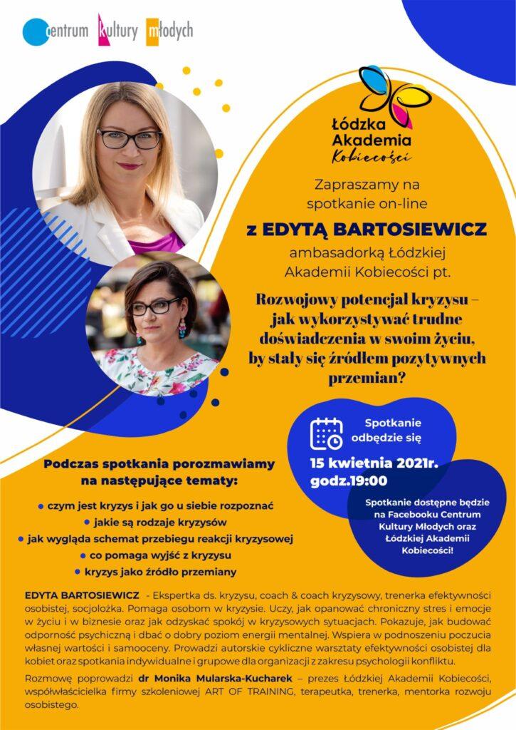 Plakat promujący spotkanie on-line z Edytą Bartosiewicz
