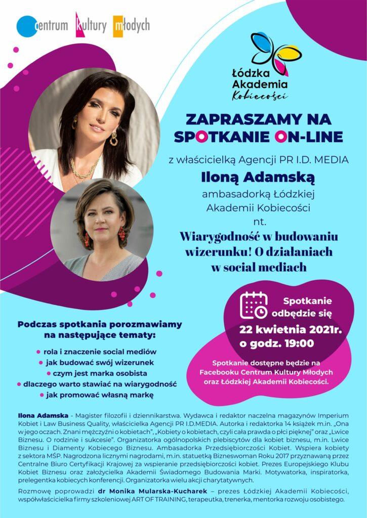 Plakat promujący spotkanie on-line z Ilona Adamską