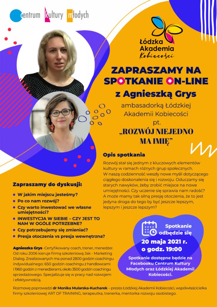 Plakat promujący spotkanie on-line z Agnieszka Grys