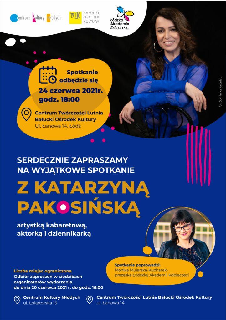 Plakat promujacy spotkanie z Katarzyną Pakosińska