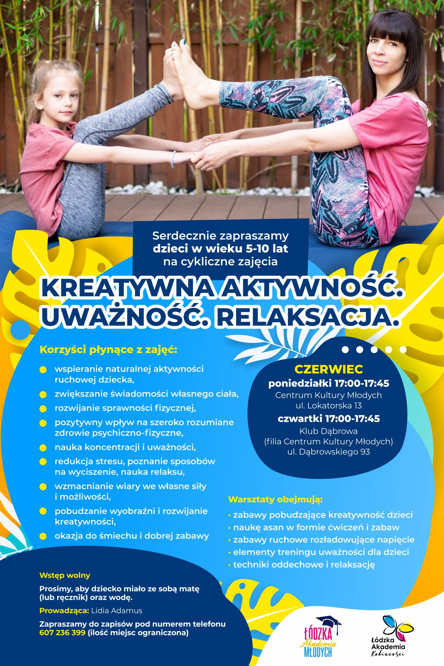 Plakat promujący zajęcie w plenerze dla mam z dziećmi