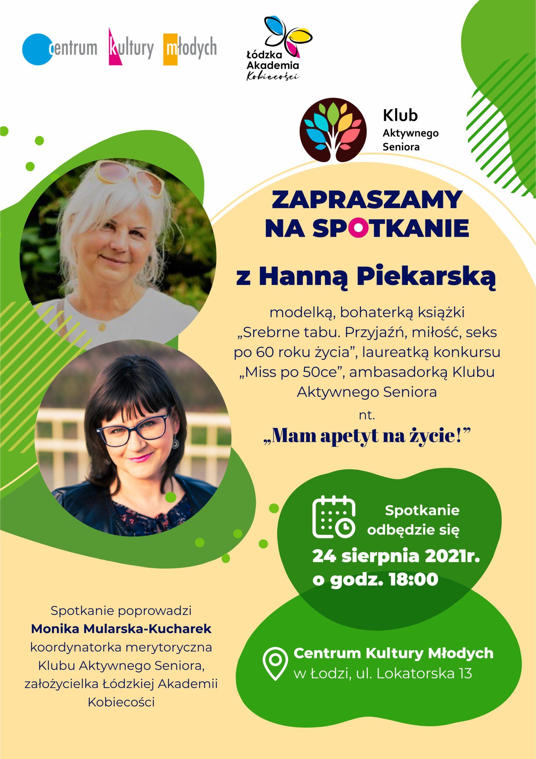 Plakat spotkanie z Hanną Piekarską
